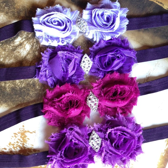 Shabby chic fall lavender, purple, berry, plum stretch headband for women or girls. Old Hollywood glamour with rhinestone accent.