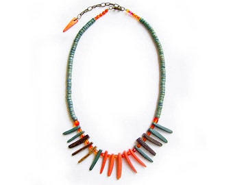 SALE - Spike Statement Necklace,  Coral and Washed Blue Coco Tusks  - Tribal Inspired Handmade Necklace in brown and off white