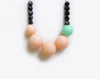 SALE - Peach Mint Polymer Clay Necklace, Pastel Beaded Bib Necklace