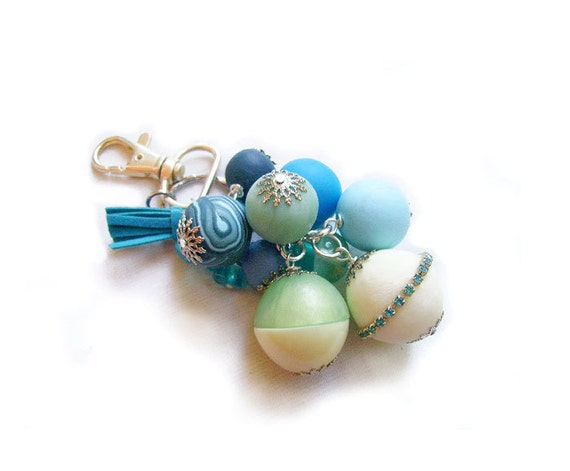 Women Keychain or Bag Decoration Accessory -  Aqua Bubbles - Bubble Candy Collection - Limited Edition Keychains