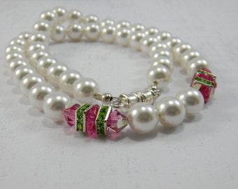 Classic White Pearl Necklace, Swarovski Pearls and Crystals, Wedding Necklace, Pink and White Necklace, Handmade