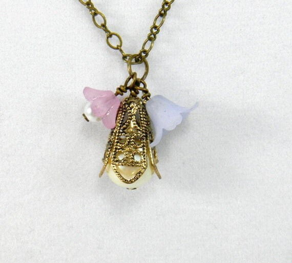 Pearl Pendant necklace, Flower Necklace, Vintage Style Necklace, Pink, Blue, Lucite flowers, Antique Brass, Womens Fashion Jewelry