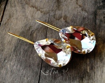 swarovski crystal drops 24ct gold plated earrings ,bridal earrings, wedding