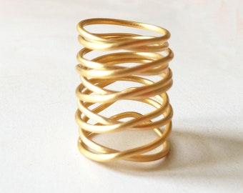 24ct gold plated bronze statement ring, handmade minimalist statement ring,wire gold plated bronze statement ring,statement GIFT for her