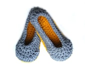 Womens slippers, crochet ballet flats, crochet slippers with extra thick soles, grey, yellow, gold - sizes 3-12 made in any color