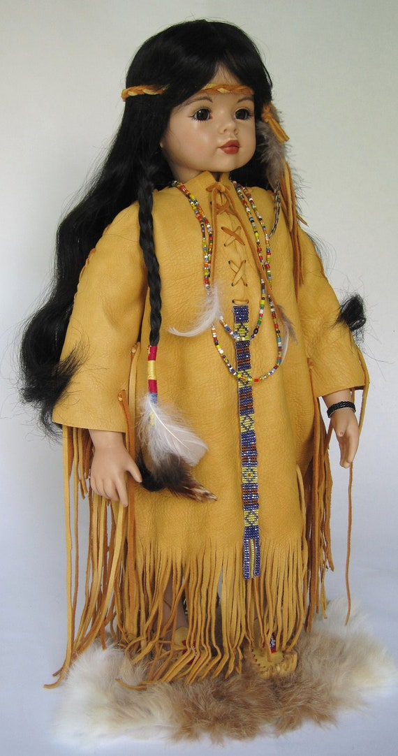 20 Inch Native American Indian Porcelain Doll
