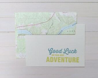 good luck adventure letterpress card