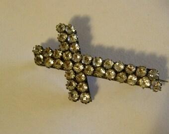 Antique Victorian paste cross brooch