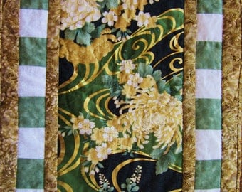 Quilted Table Runner -- Oriental Fabrics in Green and Gold
