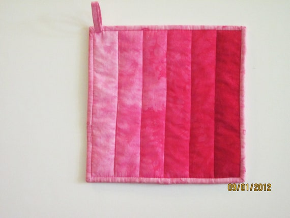 Quilted Potholder -- Ombre in Hand Dyed Shades of Hot Pink to Pale Pink