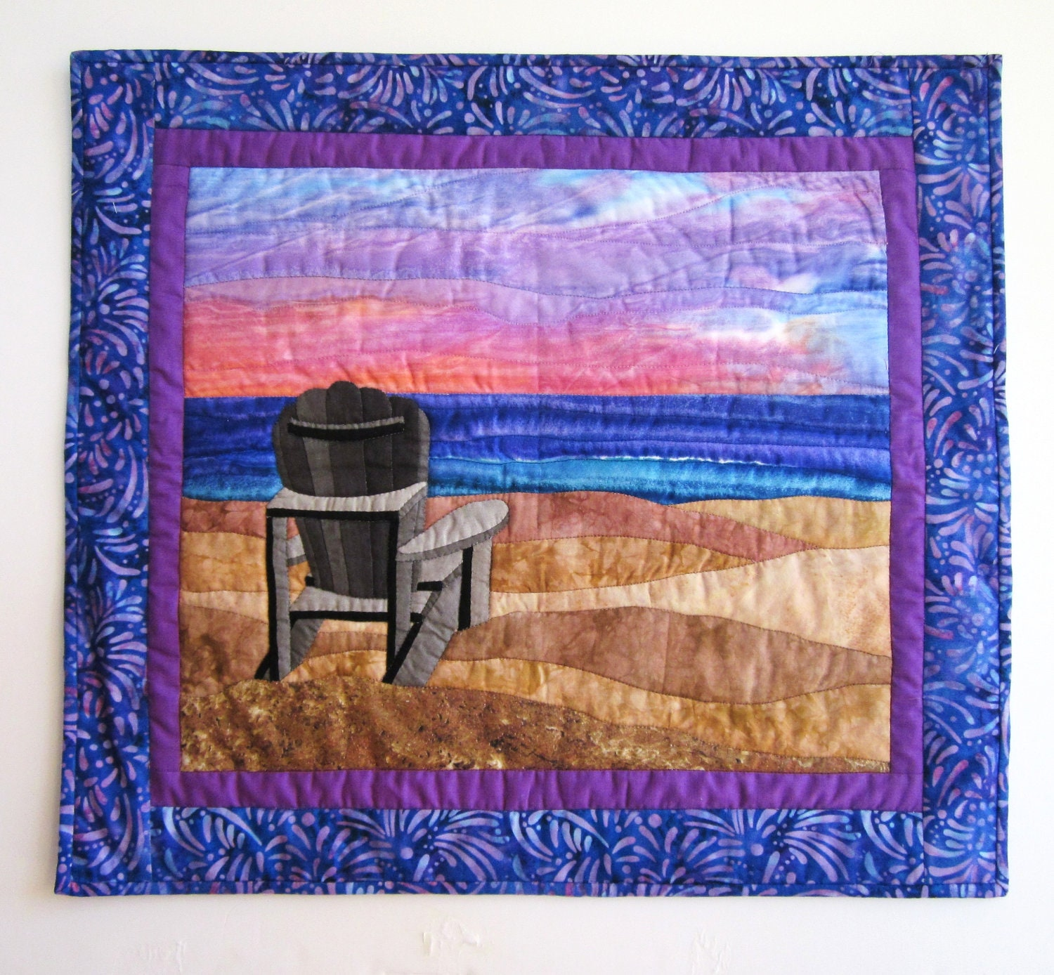Quilted wall hanging sunset beach scene alzheimer 39 s for Wall hanging