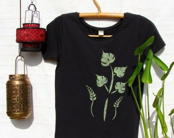 Tropical Escape Organic Cotton Black Tee
