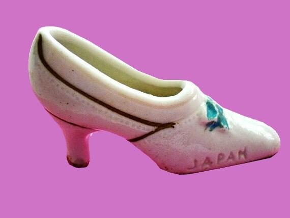 1930s Pre World War 2 Cream Porcelain Shoe Marked Japan on the side - Gold and Light Blue Trim