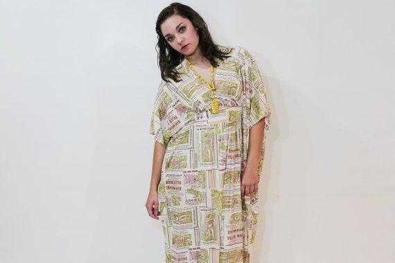 60s 70s Caftan Dress Maxi Novelty Print Large L Vintage 1960s 1970s Short Sleeve Tunic Short Sleeves