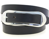 """Ladies' Waist Or Hip 1"""" Black Bridle Leather Belt With An Over-Sized Oval Buckle Made In USA"""