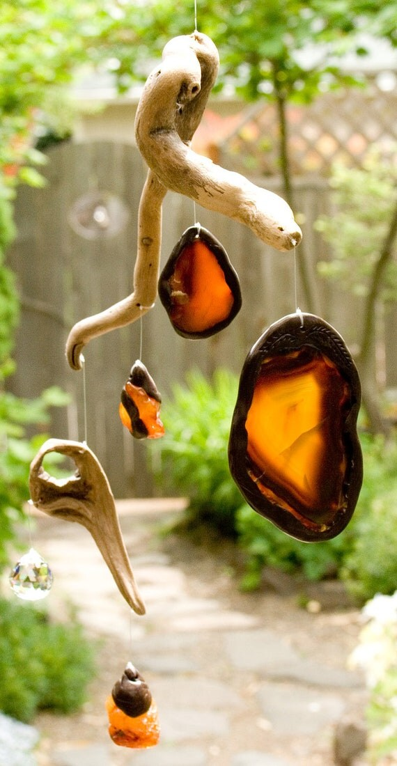 Driftwood sun catcher / mobile with agates and crystal.  FREE SHIPPING in U.S. and Canada.