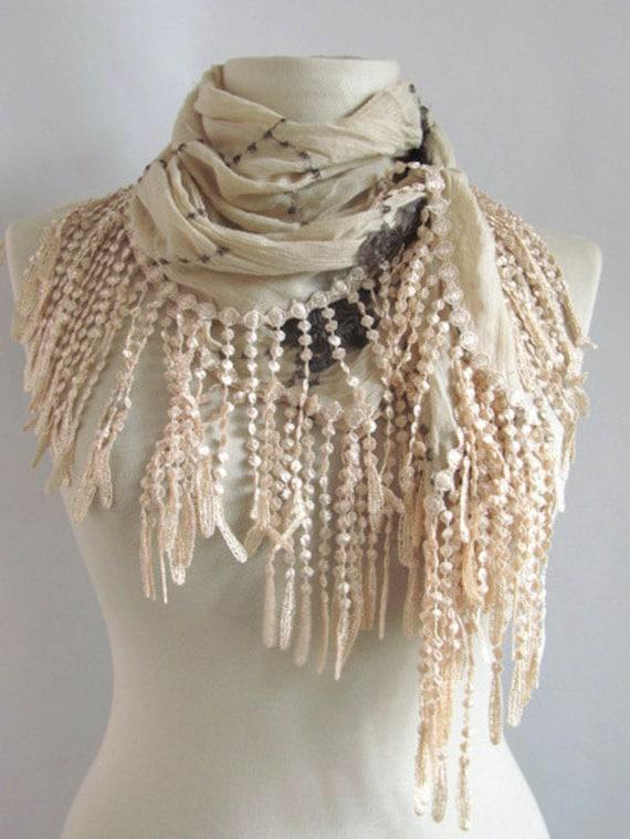 FREE Shipping..Tringle fringed  scarf-..%100 Cotton authentic, romantic, elegant, fashion