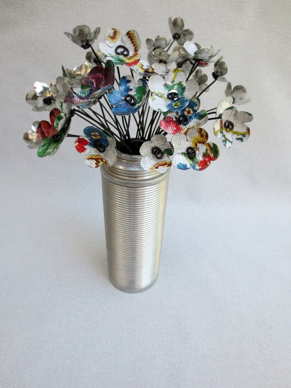 Bouquet of 2 Dozen Needlework Metal Flowers Re Purposed Art