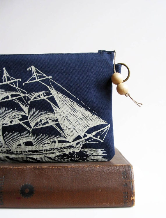 Sailing Ship Change Purse Screenprinted Recycled