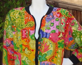 Psychedelic Sequined Croped Jacket Bomber with zipper