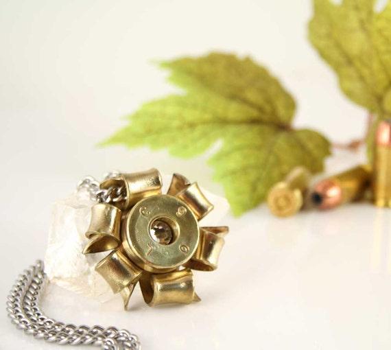 50 cal Bullet Necklace, 50 BMG Caliber Casing, Swarovski Crystal Center, Statement Piece