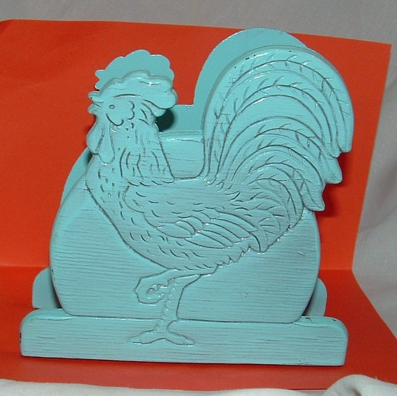 Light Blue  Carved Wooden Rooster Napkin ,Photo, or Letter Holder