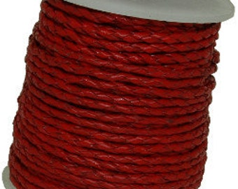 3 mm Braided  Leather Cord Red 25 M spool
