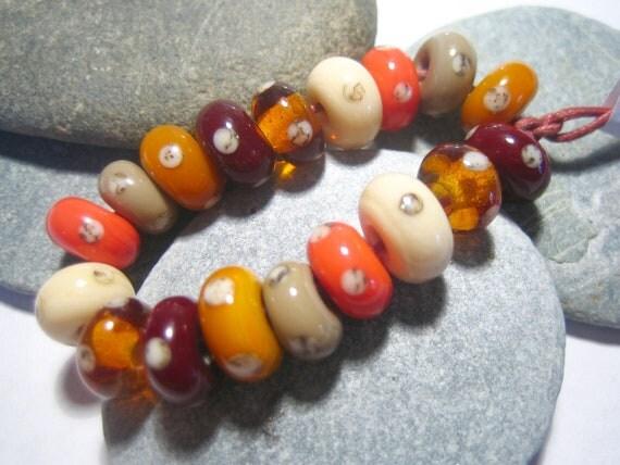 Mini Spiced Polkas Lampwork Beads, FHFteam , SRA, UK
