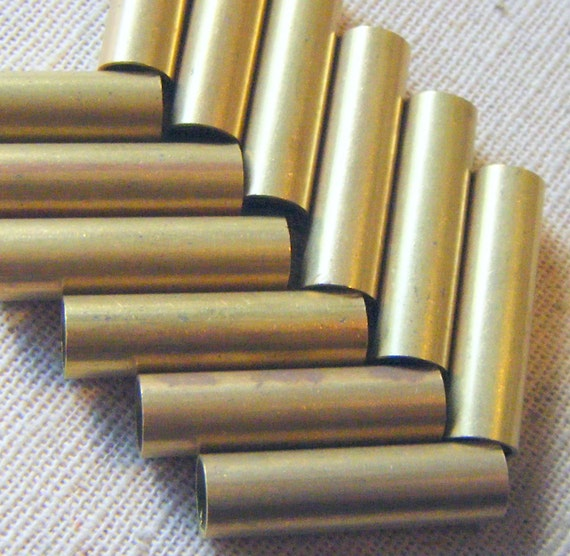 Vintage Hollow Raw Brass Tube Beads (10) Industrial, Patina