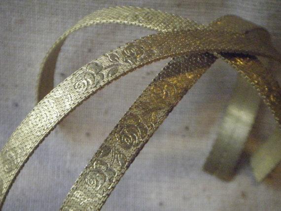 Vintage Solid Raw Woven Brass Mesh Bracelet Blank Rose Stamped Pattern (1) Fantasy Steampunk