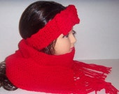Crochet Red Knit Scarf Set, Headband and Scarf Set, Red Fringed Scarf, Knitted Headband, Womans Accessories