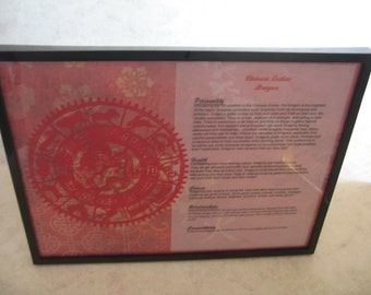 Personalized Chinese Astrology Paper Cutting framed for your home or office decor