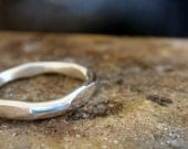 hammered silver ring, sterling silver ring,  4mm ring band, wedding or chunky stacking,  plain and simple silver ring