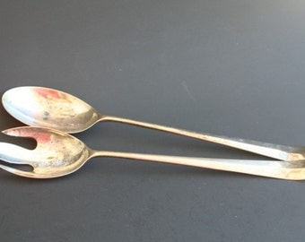 Vintage Silver Tone Salad Fork and Spoon or Salad Tongs