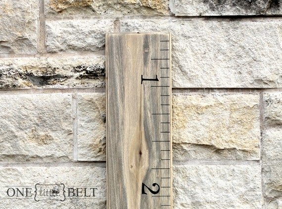 Ruler Growth Chart- Wooden, Portable, Weathered Oak