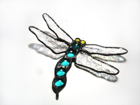 Dragonfly suncatcher teal green stained glass hanging window art