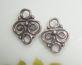 6 pcs,  9x7mm, Handmade Oxidized Sterling Silver Tiny Filigree Small connector link, PC-0010