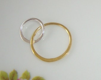 18K Gold over Sterling Silver Handcrafted 2 circles Link, Fine Infinity Link, Infinity Connector,13x20mm, 2 pcs