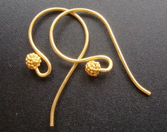 Handmade 24k Vermeil Fancy French Earwire with cluster beads,5 % off, 5 pairs - Bali Artisans - EW-0010