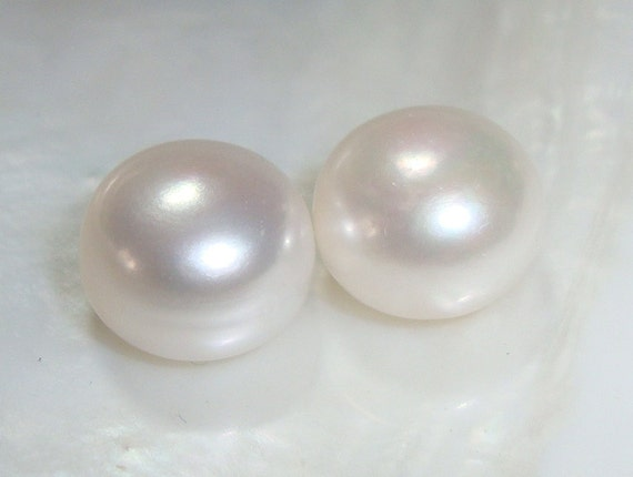Fresh Water Pearl, Tears of Mermaids, One pair, 11-11.5mm, Great LUSTROUS Half Drilled Genuine Freshwater Pearls