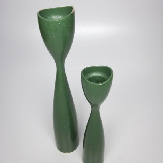 Danish Modern Turned Wood Candle Holders - green lacquer