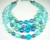 Vintage Necklace West Germany Blue Lucite Glass Four Strand Bead Jewelry