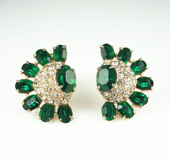 Vintage Earrings Art Deco Style Emerald Green Clear Rhinestone Jewelry