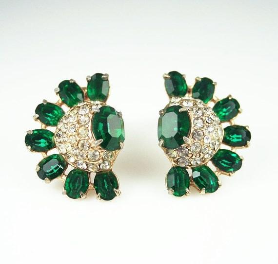 Vintage Earrings Art Deco Style Emerald Green Clear Rhinestone Jewelry