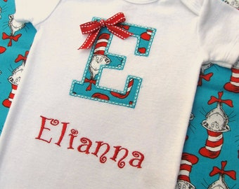 Personalized Embroidered Initial Bodysuit -Embroidered Initial Infant Bodysuit- Seuss Fabric Appliqued - Cat in The Hat
