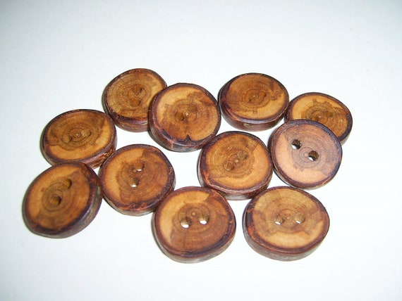"""11 Handmade birch wood Tree Branch Buttons with Bark, accessories (0,98"""" diameter x 0,20"""" thick)"""