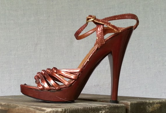 70s Metallic Leather Oxblood Strappy Pumps Sandals Ankle Strap High Heels by Cels Size US  6 / UK 4  / EU 36