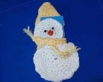 Reuable Snowman Gift Card Holder, Yellow Hat & Fringed Scarf Snowman Oranment