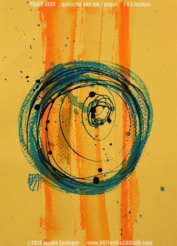 PEACE XXXV - Original Fine Art, Small Painting, 5x7, Gouache, Ink, Circle, Enso, Abstract, Spiritual