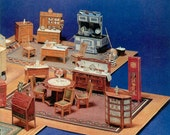Vintage Archival Reproduction Paper Dollhouse Furniture